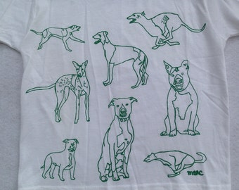 Pit Bull Tee Shirt- Greyhound Tee Shirt- Dog Tee Shirt- Children's Gift- Dog Lover Tee Shirt- Hand Drawn- Screen Print- Size Small