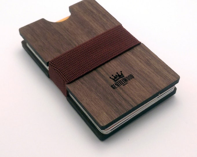 BLACK FRIDAY CODE: Off30- Walnut Handmade Wood Wallet - Slim wooden wallet - credit card wallet - GenteelWood wallet - Minimalistic wallet