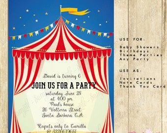 Circus Carnival Invitation Red & White - INSTANT DOWNLOAD - Editable Birthday Party PDF file you personalize home with Adobe Reader, 0089-R