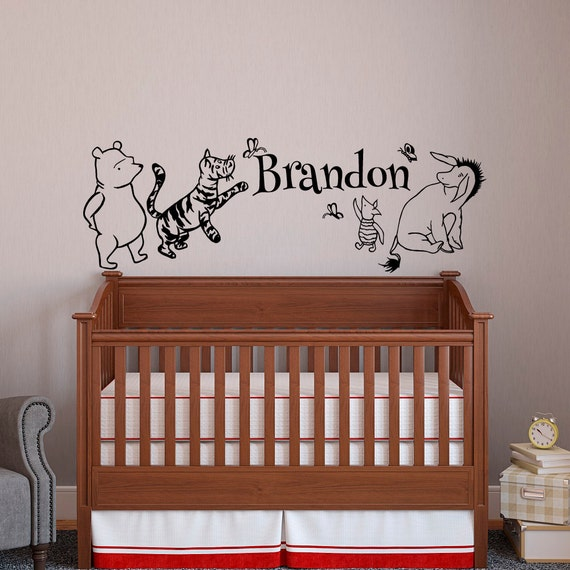 classic winnie the pooh baby name wall decal pooh bear winnie the pooh wall sticker pooh bear tigger piglet eeyore