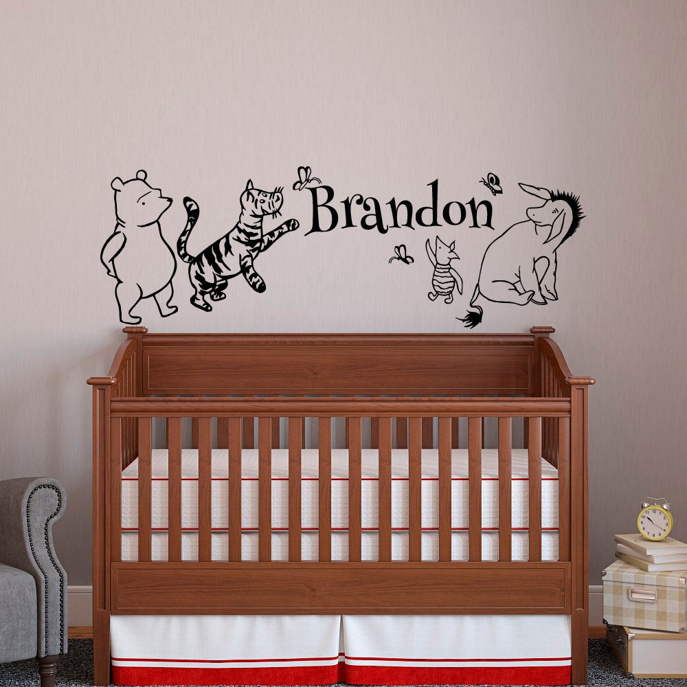 classic winnie the pooh baby name wall decal pooh bear. Black Bedroom Furniture Sets. Home Design Ideas