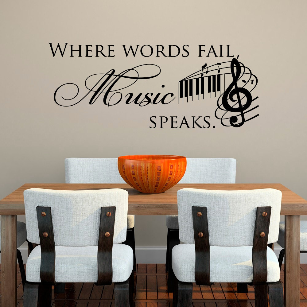Wall Decals Quotes: Music Decal Music Wall Decal Quotes Where Words Fail Music