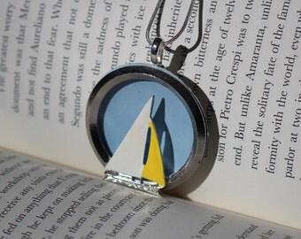 Vintage Nautical Sailboat Ocean Circle Brooch Conversion Pendant Necklace