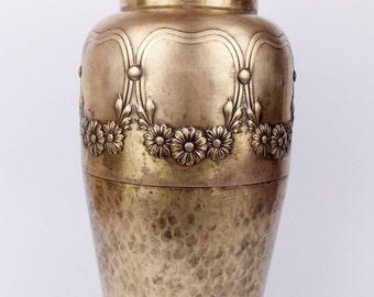 Antique 1910 Art Nouveau WMF Brass Tall Floral Flower Vase Jugendstil Golden