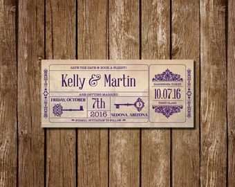 Vintage Travel Ticket Save The Date