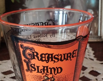 Treasure Island Toddlers Glass Libbey Mid Century Literature Collection  Book Lover Glass