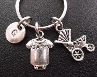 Baby onesies and stroller keyring, keychain, bag charm, purse charm, monogram personalized item No.269