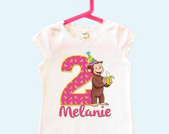 Girl's Curious George Birthday Shirt