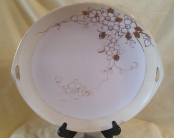 nippon cake plate hand pained/, collectable nippon with gold gilt/cake plate