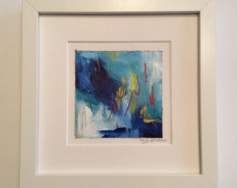 4x4 original painting matted to fit 8x8 frame -Blue Jazz #2