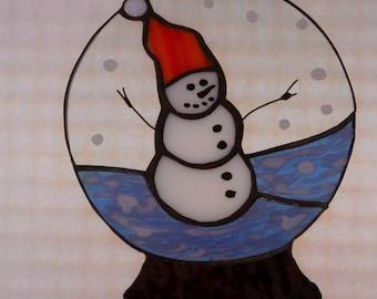 SAVE30 coupon code for SALE    snow globe, snowman, sun catcher, winter, HappyGlass06, winter,