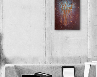"Abstract Painting Orange Painting Orange Abstract Art Original Painting ""Burst"" fine art painting art by Michel Cekalovic"