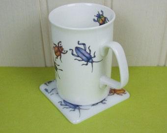 Bone China Beetle Mug & Handmade Glass Coaster Set by Jessica Irena Smith