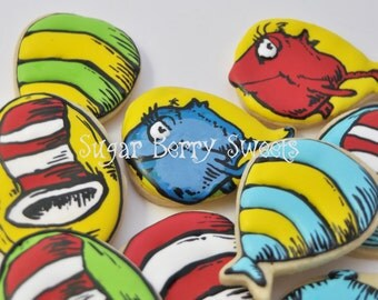 Dr. Seuss  Birthday party - baby shower Cookies - cute decorated sugar cookies- cat in the hat - red fish - blue fish - Dr. Seuss party