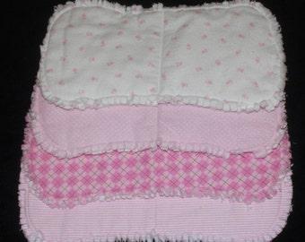 Handmade Contoured Burp Cloths pink (Set of 4)