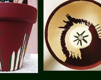 Maroon, Forest Green, and Cream Hand-Painted Flower Pot//Hand-Painted Pottery//Hand-Painted Terracotta Pot