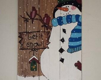 Let it Snow Rustic Snowman Pallet Sign