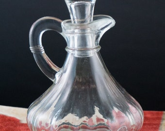 Vintage Glass Cruet Olive Oil Dispenser Pitcher with Stopper