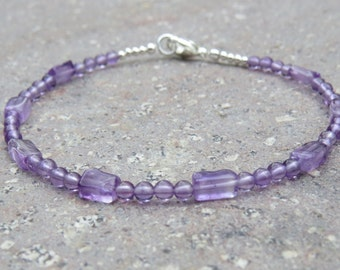 Amethyst and Karen Hill Silver Beaded Bracelet