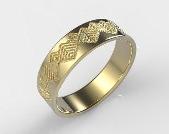 Men's Wedding Band, Mens Wedding Band Gold, Unique Mens Ring, Unique Gold Ring, Men's Wedding Bands, Geometric Ring, Mens Gift, Mens Gold