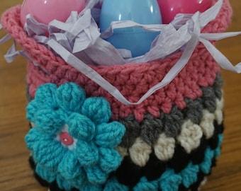 Crochet pink and blue Easter basket,crochet girl's purse, small tote, small basket, pink and blue tote, handbag