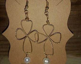 Gold Freshwater Pearl Cross Earrings