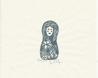 Flower Child-Rubber Block Print