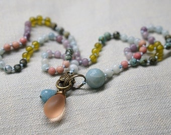 Hand knotted necklace with colorful gemstones