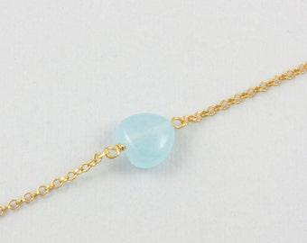 Heart bracelet, aqua blue chalcedony heart, skinny chain bracelet, pastel blue gold bracelet, light blue heart, gifts for women