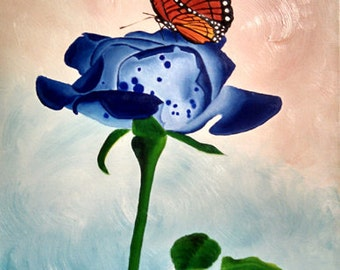 """Royal blue rose with monarch butterfly """"The Royal Monarch"""""""