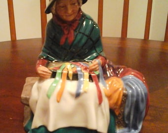 Royal Doulton Silks and Ribbons,  Numbered HN 2017 COPR 1948    by Leslie Harradine, Made in England    Note*** Small Chip on Bench leg