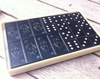 Soviet Vintage Domino, Black Domino, Classic Dominoes, made in USSR