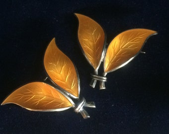 David Andersen midcentury pins, deep yellow enamel over sterling, two matching