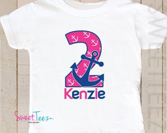 Nautical Birthday Shirt Anchor Boy Girl Personalized Age Shirt Second Birthday