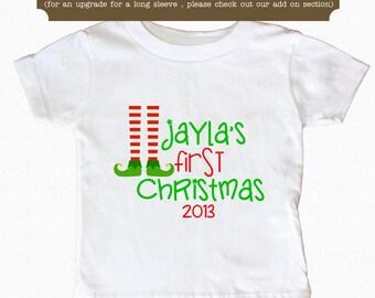 First Christmas Shirt Elf Legs Kids Shirt Bodysuit Personalized