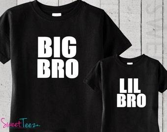 Big Bro LIL bro Black Shirt Set Shirt hip Black toddler Shirt