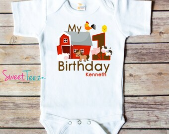 Farm Shirt First Birthday Shirt Animals Horse Cow Barn Personalized Age Shirt