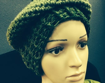 Shades of green, playful, warm, beret or beanie with pom pom