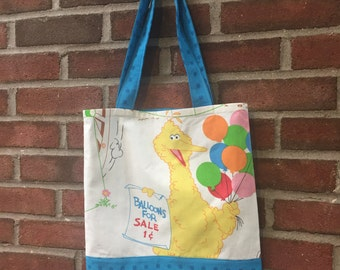 Upcycled Recycled Sesame Street Tote Bag with Pocket - Made from Bed Sheets - OOAK
