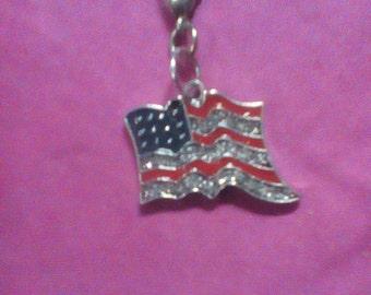 American Flag Charm Bracelet