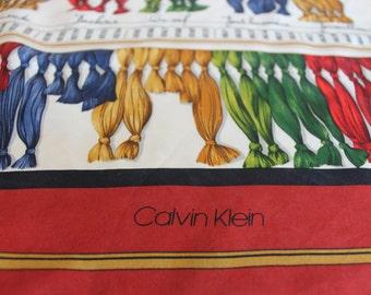 CK CALVIN KLEIN 100 % silk scarf in red, yellow, blue, green, white - original, genuie, designer