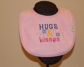 Hugs and Kisses Baby Bib for Boys and Girls