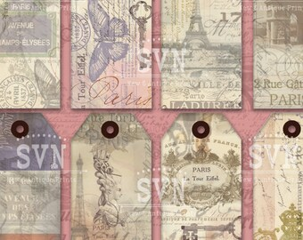 Printable VINTAGE PARIS Shabby Chic Gift TAGS for any occasion - Different phrases - 3,2 X 4,2 inches