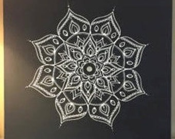 Dark Grey Mandala (24'' x 24'' canvas)