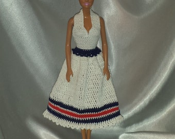 Crocheted Barbie Halter Dress, Fashion Doll Crocheted Clothing, Handmade Barbie Clothes, 4th of July Halter Dress For Your Barbie Doll