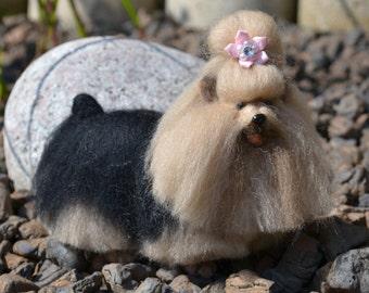 Miniature Yorkshire Terrier Needle Felted Dog Sculpture