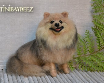 Pomeranian Needle Felted Dog Sculpture