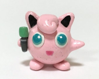 Collectable Polymer Clay Pokemon Figurine, Jigglypuff, Handmade Nintendo Figure