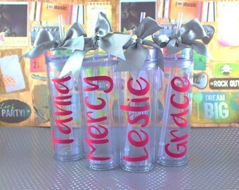 Skinny Personalized Tumbler -Sweet 16-  Party Acrylic Tall Tumbler - Party Favors Acrylic Tall Tumblers- Custom Tumbler-Bachelorette Tumbler