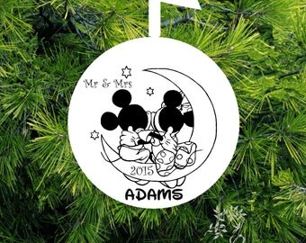 Mr Mrs Mickey & Minnie Kissing Christmas Ornament - Married Personalized Wedding Gift - lovebirdschristmas